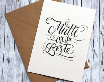 Greeting card mum is the best print of Handlettering