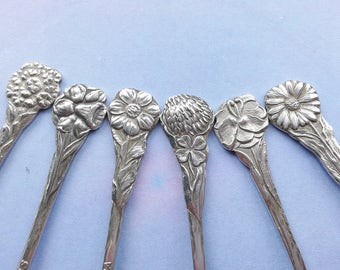 6 silver plated spoons, spoons, Dutch Dutch flowers flower