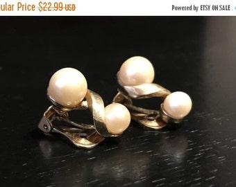 ON SALE Vintage 1955 Faux Pearl Clip Earrings