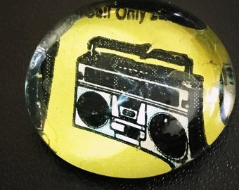 Boom Box Comic Glass Pebble Magnet/Pin