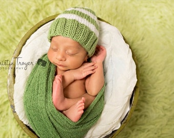 Perfect Fit Baby Beanie, Stay on Baby Beanie, Newborn Beanie Hat, Greenery Baby Hat, Hand made Knit Baby Hat, Photography Prop