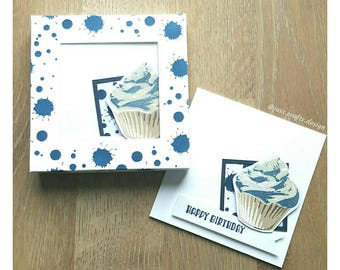 "8 birthday card set ""Cupcake"" homemade"