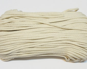 Ecru cotton cord 100 m (110 yd) 5 mm (0,2 in), cotton rope, macrame cord