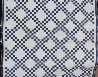 Blue and White 1880's Antique 'Double Irish Chain' Queen Size Quilt/Vintage Handmade Hand Quilted Classic Indigo Calico Quilt #17850