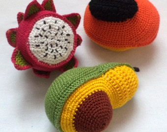 экоигрушка связана крючком фрукты ананас папайя  авокадо патая подарок едаCrochet play food , eco-friendly toys, - Play food
