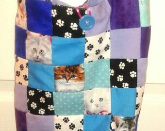Patchwork cats and paws boho hobo bag purse handmade
