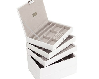 Stackers Set of 5 White & Grey Stacker Jewellery Trays LCSET5WHITE