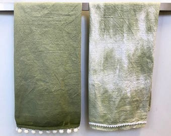 Bohemian Tea Towels *Olive* Ombre and Tie Dye
