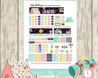 Great Outdoors Printable Planner Stickers/A6 Traveler Notebook/Monthly Kit/Annie Plans Printable/June Glam Summer Camping Fishing