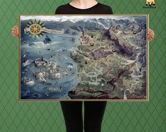 The witcher map etsy the witcher inspired complete northern kingdom map temeria custom raised canvas gumiabroncs Choice Image