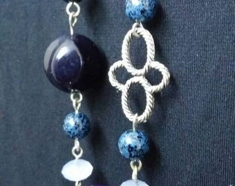 Purple blue beaded necklace