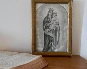 Old Religious Print, Sacred Heart, Baby Jesus, Old Plaster Picture Frame, 1900s Prints, Virgin Mary, Religious Icon