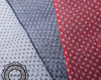 Polka Dots Printed Sinamay Medium Sizing Millinery Fabric per meter   SH7115AS