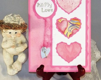 """All My Love"""" - handmade greeting card for Birthday, Thank you or Valentine's Day with a matching envelope"""