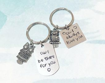Owl personalized pun Keychain