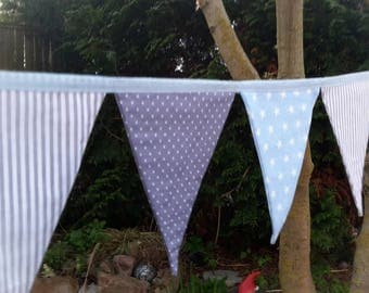 Pennant banner fabric, 3 m, light blue/grey/star