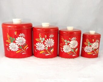 Ransburg Canisters, Set of 4, Red/Orange, Handpainted Flowers