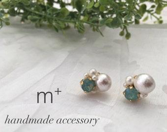 Cotton Pearl × Bijou < emerald green > Earrings  (Pierce)  PPCpBG 014