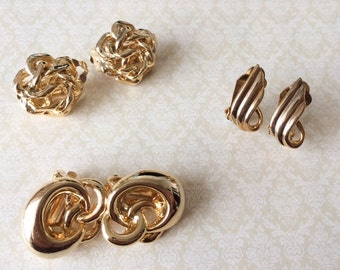 3 Pairs of Vintage 1950's Gold Tone Clip On Unique Earrings