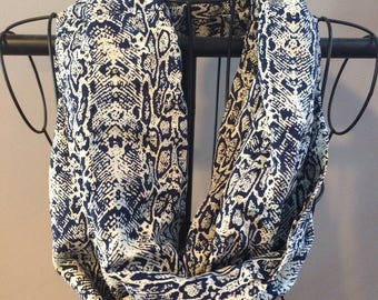 Navy and off white infinity scarf