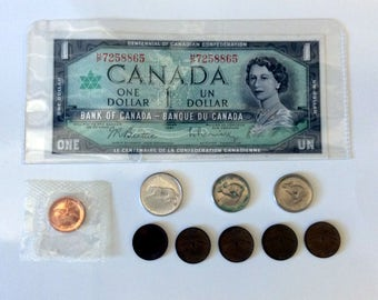 Canadian 1967 Centennial Currency - Banknote and Coins