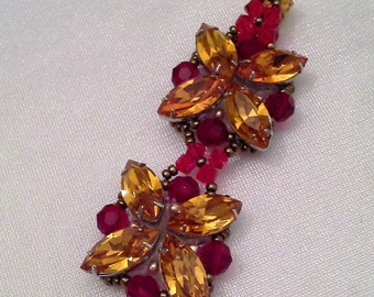 Topaz and red Swarovski crystal pendant / Modern and elegant Swarovski pendant