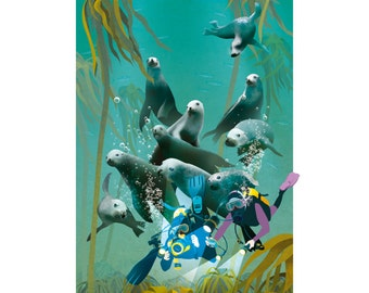 Seal Spotting | illustrated giclée print