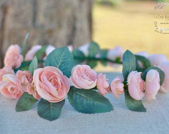"The ""Jenna"" floral halo crown // flower crown wedding, blush wedding, pink flower headband, floral headpiece, head wreath, pink flower crown"