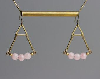 Rose Quartz Earrings / Gemstone Beads, Triangle Jewelry / Blush Pink Earrings / Geometric, Brass, Pastel