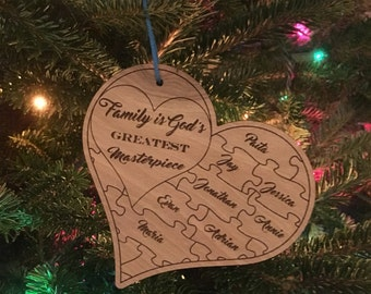 Christmas Ornament - Family Puzzle Hearts
