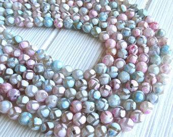 8mm Tibetan beads, full strand, Multicolor tibetan, 8mm agate, tribal beads, dzi beads, tibetan round, 8mm beads, pastel tibetan beads