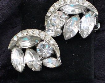SO # 1038 Vintage Silver Tone Clear Marquis and Round Cut Rhinestone Clip On Earrings