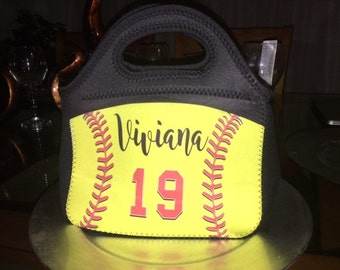 Custom lunch tote, softball lunch tote, baseball tote, personalized lunch tote