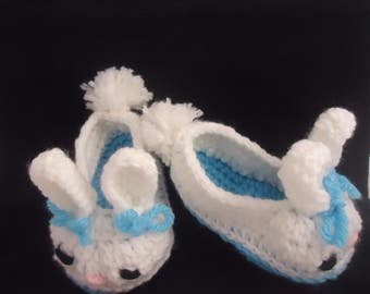 Bunny Slippers, Crochet Bunny Slippers, crochet slippers, Baby Slippers, easter gift