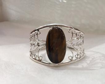 Bronze bracelet with natural stone. Boho cuff. Hippie Bangle. Exotic bracelet.