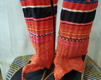 Boots made with artisanal looms. Summer boots. Sailing boots vintage.
