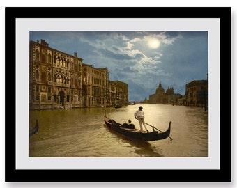 Venice Italy Grand Canal Photography Print by Moonlight, Fine Art, Gondolas, Italia, History, Italian Scenery Wall Art, Home Decor, Boats