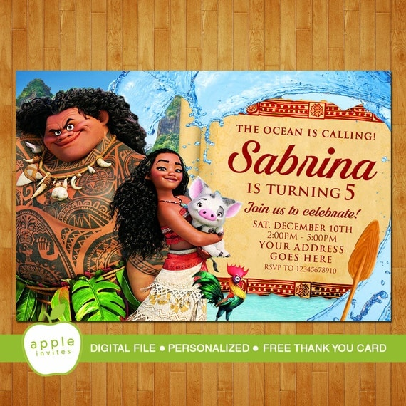 Moana Printable Birthday Party Invites