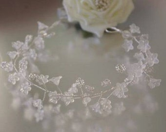 White Flower Hair Vine/Accessory Various Lengths  Wedding Prom Party