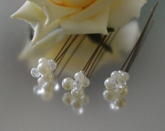 Set of three Ivory Pearl Cluster Hair Pins Wedding Prom Party