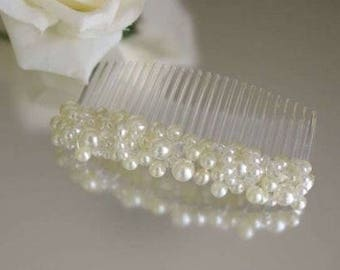 Beautiful Ivory Pearl Cluster Hair Comb Wedding Prom Party