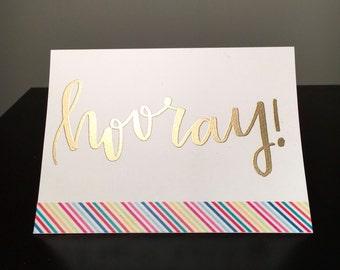 White Hooray! Embossed Card
