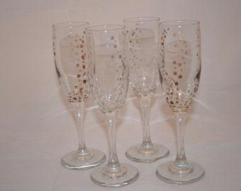 Silver/Bronze/Gold Enameled Wine Glasses. Set of 4