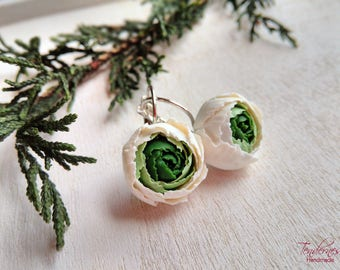 Delicate earrings with green and ivory peonies, spring colours, floral jewellery