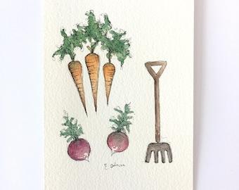Garden veg- watercolour illustration