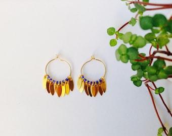 Small blue hoop earrings in 14 Kt Gold Filled, Mini Hoop Earrings, Gold Earrings, Gold Hoop earrings