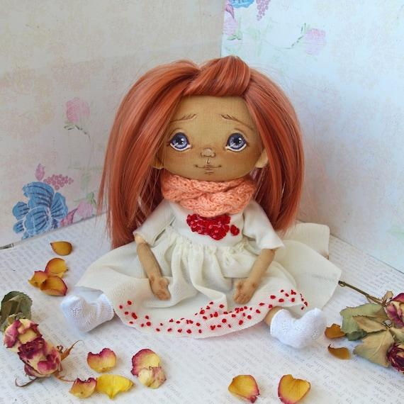 Textile art doll. Fabric Doll handmade. Beauty doll. lovely doll. Cute doll. Soft doll. Cloth doll. Gift. Nursery doll. Interior doll. gift
