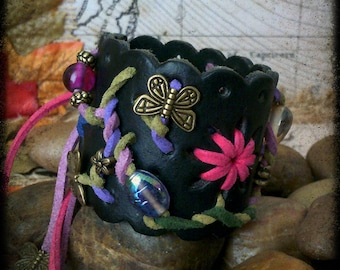 Amazing, Unique hand crafted, up-cycled  multi dreads/hair/wrist cuff/tie/bracelet or bun holder with beaded tails.