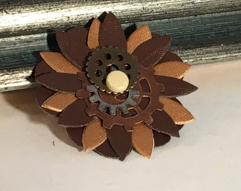 Powered Flower Steampunk Brooch Pin