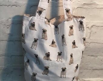 pug fabric,  dog fabric, pug, star fabric,  Shopping bag, Market bag, shoulder bag, tote bag, grocery bag